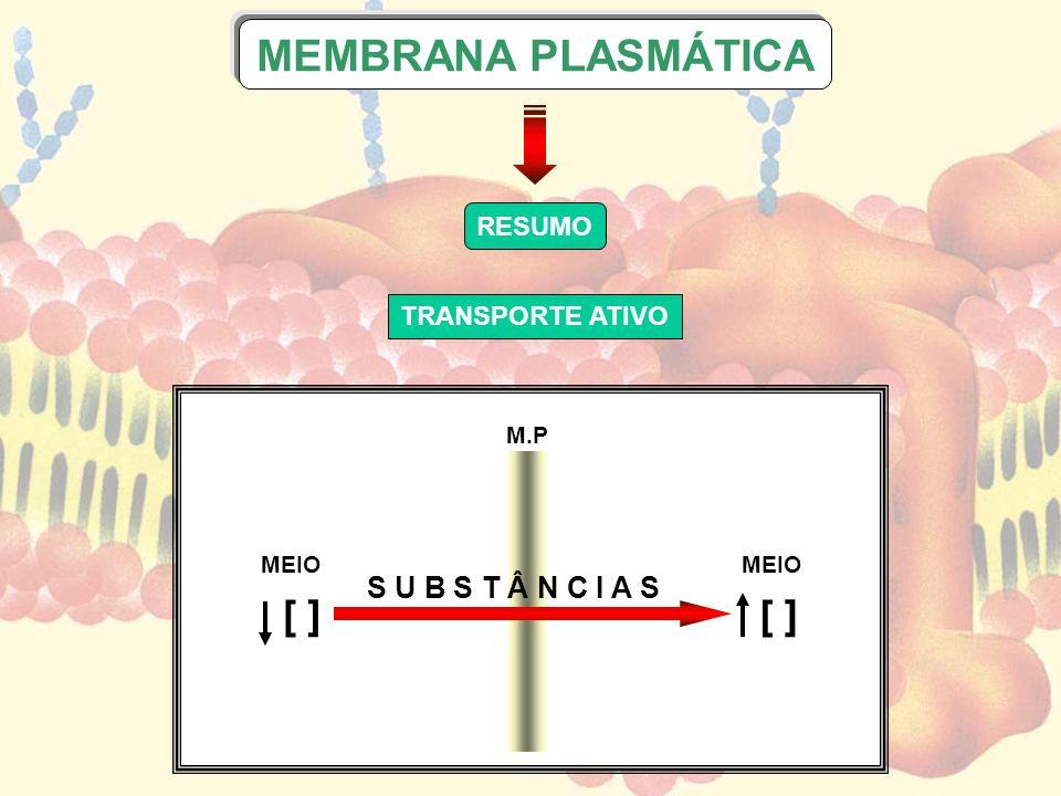 MEMBRANA PLASMÁTICA [ ] S U B S T Â N C I A S RESUMO TRANSPORTE ATIVO